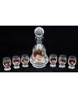 Karafka + 6 kieliszków baryłka kryształ KP400